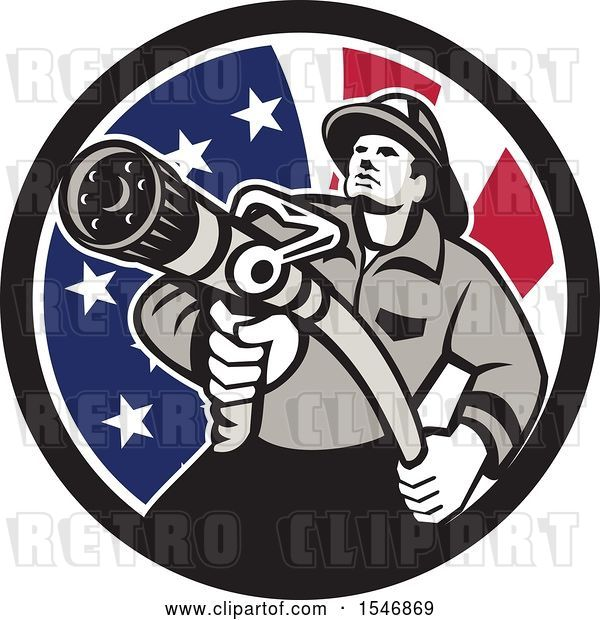 Vector Clip Art of Retro Firefighter Holding a Hose in an American Flag Circle