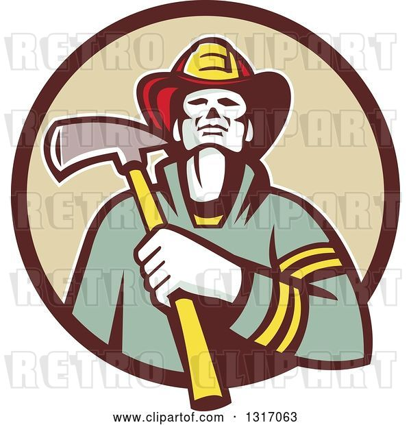Vector Clip Art of Retro Firefighter Holding an Axe in a Brown and Tan Circle
