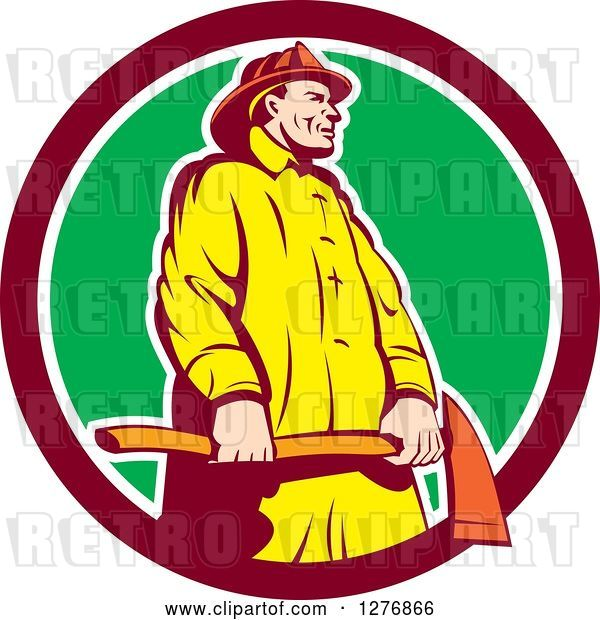 Vector Clip Art of Retro Firefighter Holding an Axe in a Maroon White and Green Circle