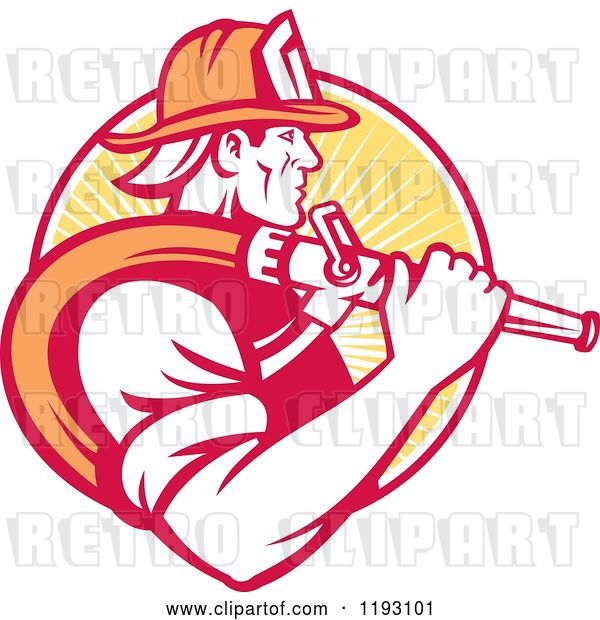 Vector Clip Art of Retro Firefighter in Profile, Carrying a Hose over His Shoulder, Against a Yellow Ray Circle