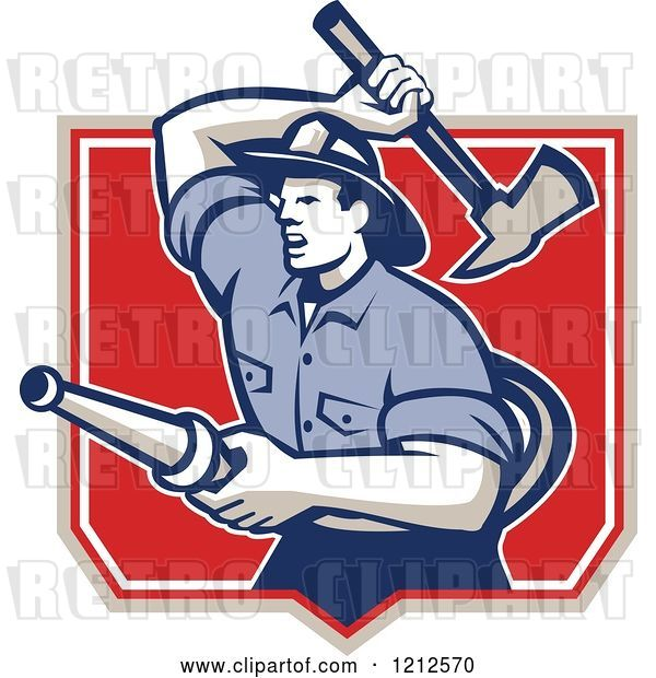 Vector Clip Art of Retro Firefighter with a Hose and Axe in a Shield