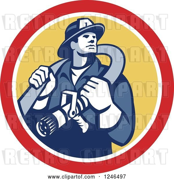 Vector Clip Art of Retro Firefighter with a Hose in a Yellow and Red Circle