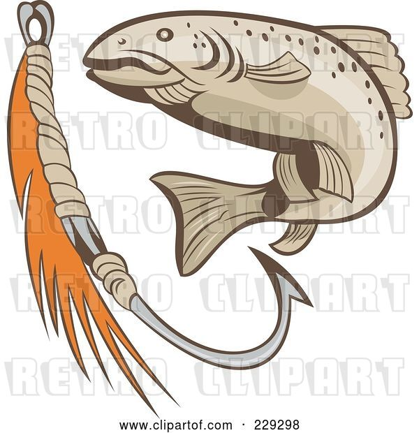Vector Clip Art of Retro Fish and Hook Logo