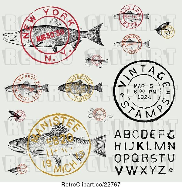 Vector Clip Art of Retro Fish Postmark Stamps and Alphabet Design Elements
