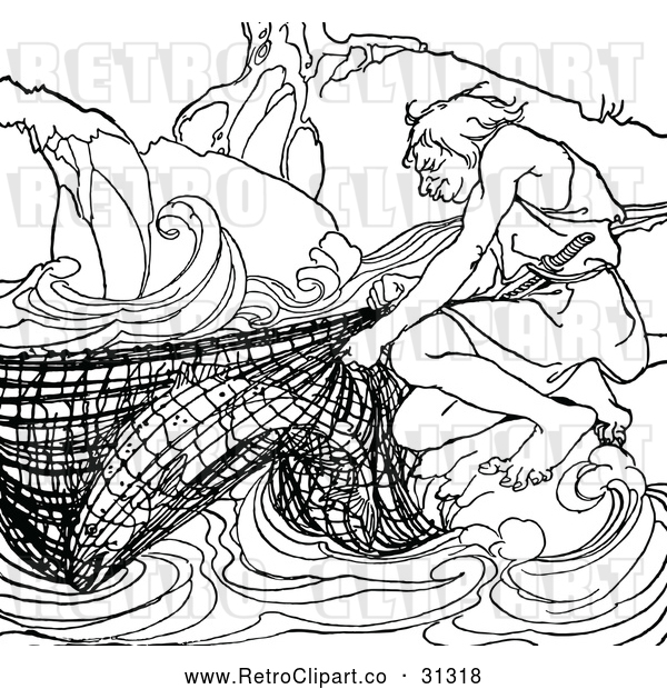 Vector Clip Art of Retro Fisherman with His Catch in a Net