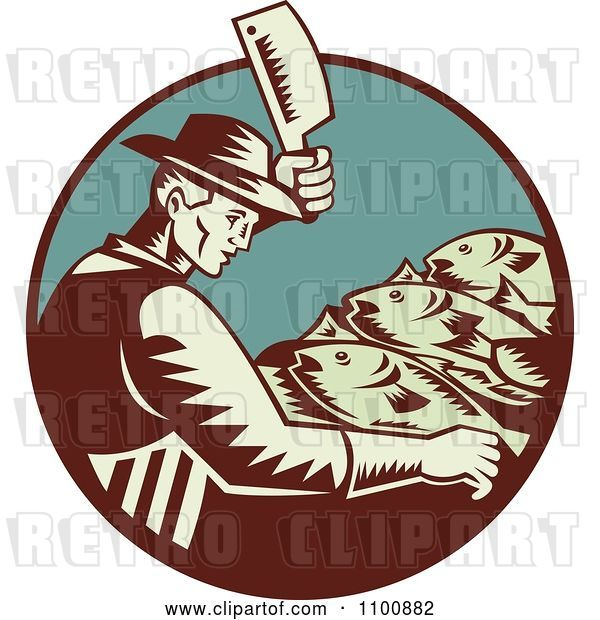 Vector Clip Art of Retro Fishmonger Butchering Fish with a Cleaver Knife