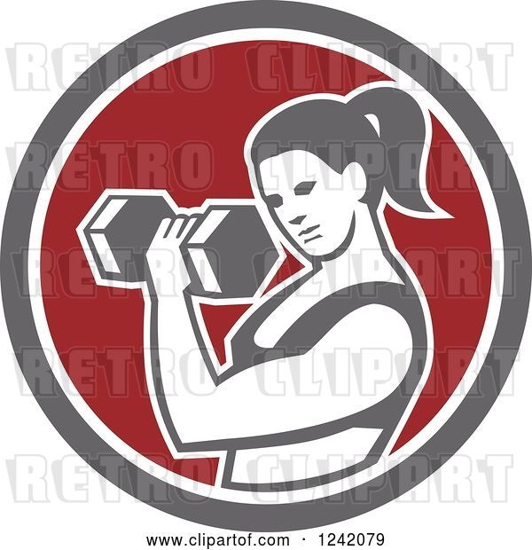 Vector Clip Art of Retro Fit Lady Doing Bicep Curls with a Dumbbell in a Circle
