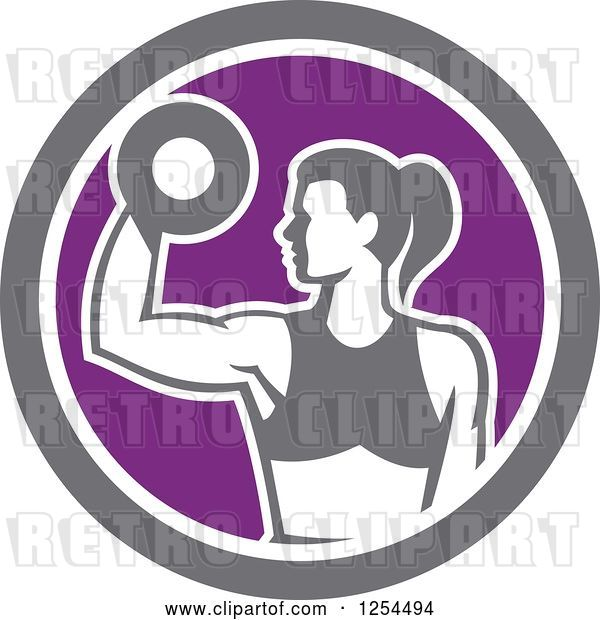 Vector Clip Art of Retro Fit Lady Doing Bicep Curls with a Dumbbell in a White Purple and Gray Circle