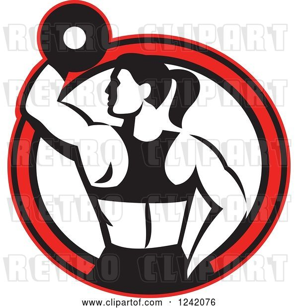 Vector Clip Art of Retro Fit Lady Working out with a Dumbbell in a Red Circle