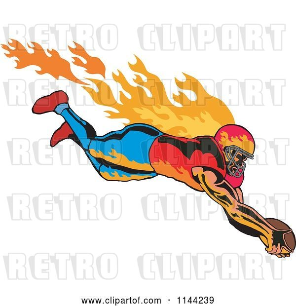 Vector Clip Art of Retro Flaming Touchdown Football Player