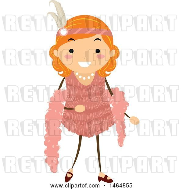 Vector Clip Art of Retro Flapper Girl in a Pink Dress