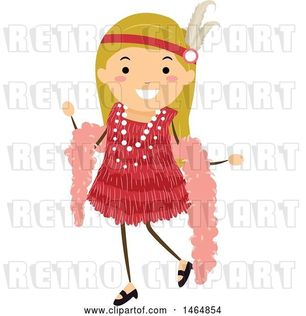 Vector Clip Art of Retro Flapper Girl in a Red Dress