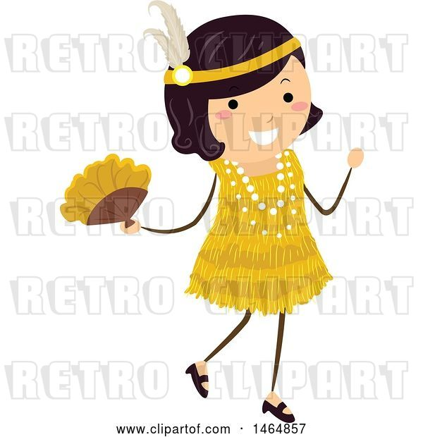 Vector Clip Art of Retro Flapper Girl in a Yellow Dress