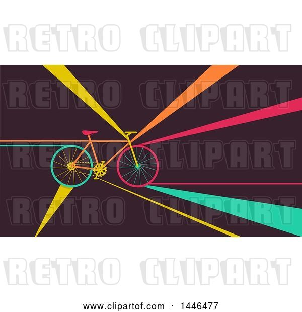 Vector Clip Art of Retro Flat Styled Bicycle with Colorful Rays