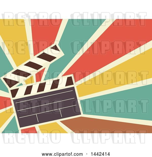 Vector Clip Art of Retro Flat Styled Clapperboard over Rays