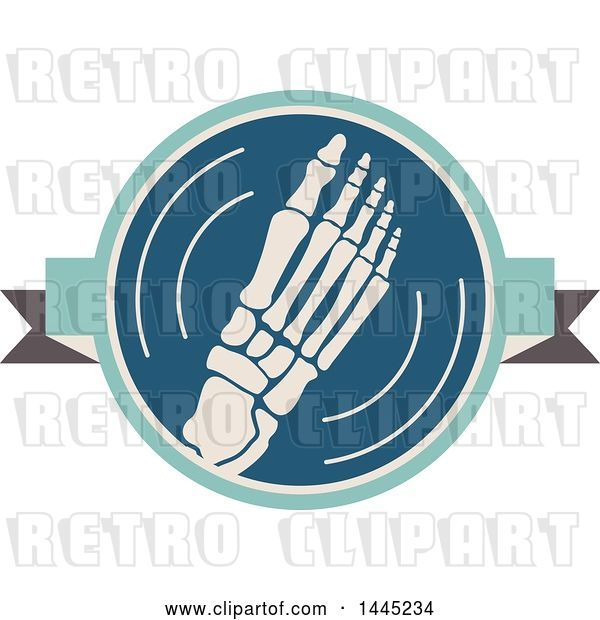 Vector Clip Art of Retro Flat Styled Foot Medical Design