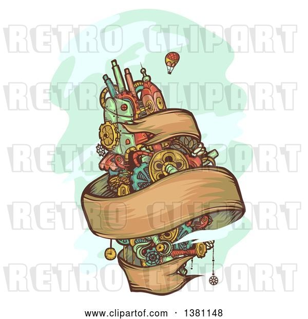Vector Clip Art of Retro Floating Steampunk Island with a Ribbon Banner and Hot Air Balloon