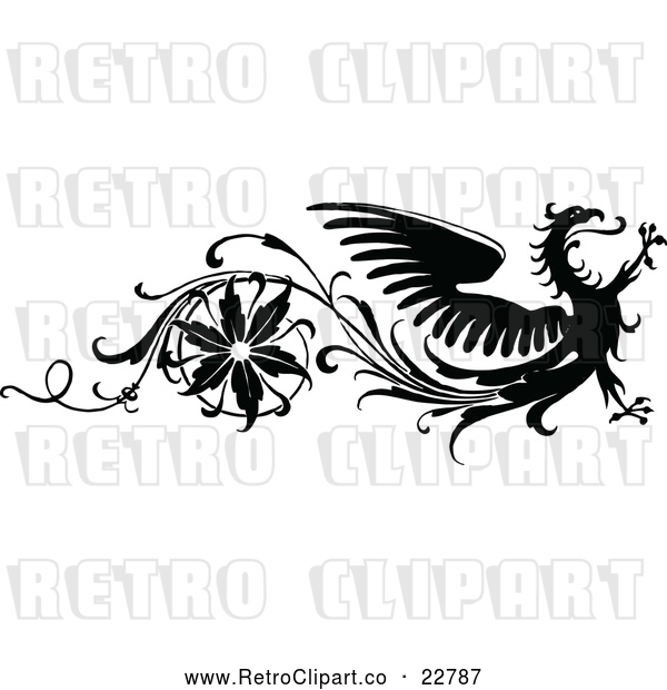 Vector Clip Art of Retro Floral and Dragon Design Element