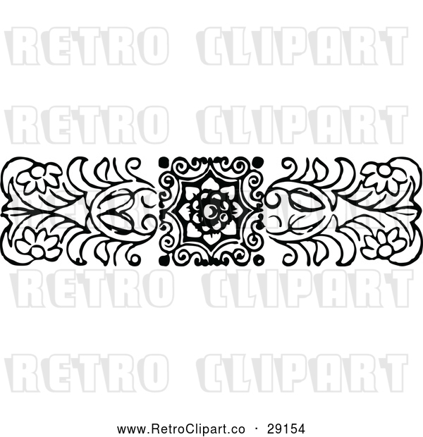 Vector Clip Art of Retro Floral Border