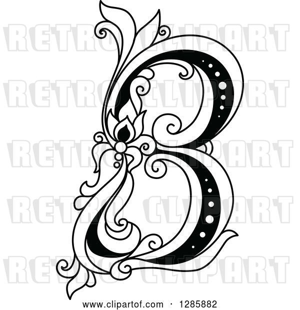 Vector Clip Art of Retro Floral Capital Letter B