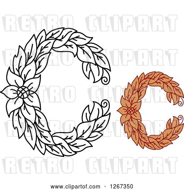 Vector Clip Art of Retro Floral Capital Letter C Designs with a Flower
