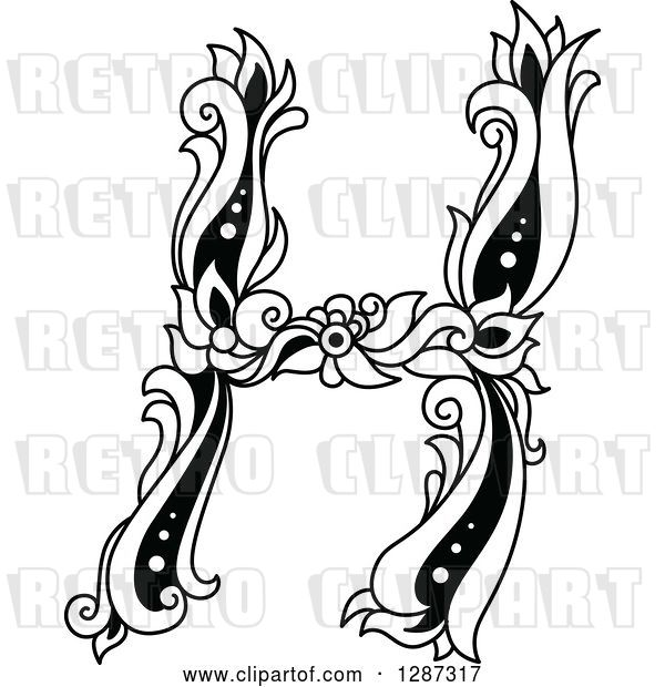 Vector Clip Art of Retro Floral Capital Letter H