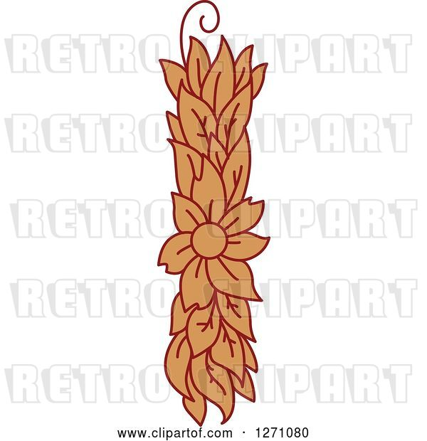 Vector Clip Art of Retro Floral Capital Letter I with a Flower