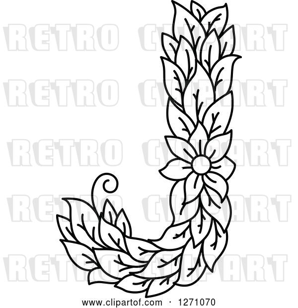 Vector Clip Art of Retro Floral Capital Letter J with a Flower