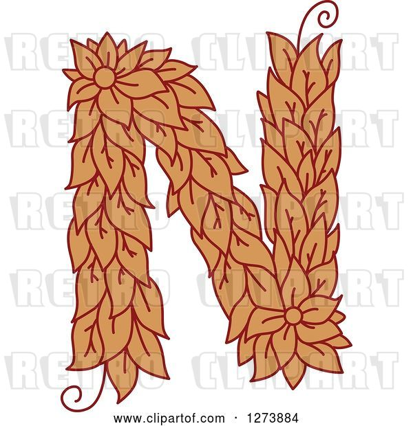 Vector Clip Art of Retro Floral Capital Letter N with a Flower