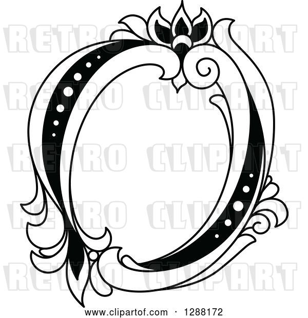 Vector Clip Art of Retro Floral Capital Letter O