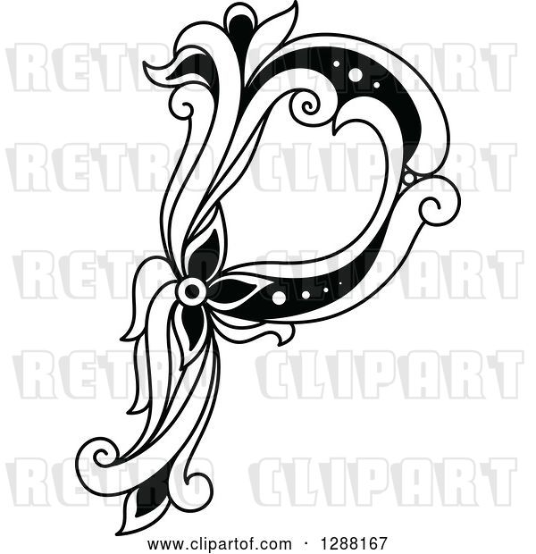 Vector Clip Art of Retro Floral Capital Letter P
