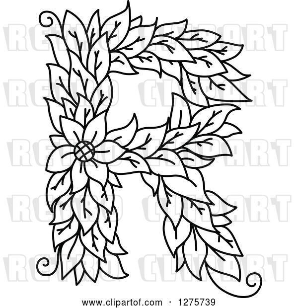 Vector Clip Art of Retro Floral Capital Letter R with a Flower