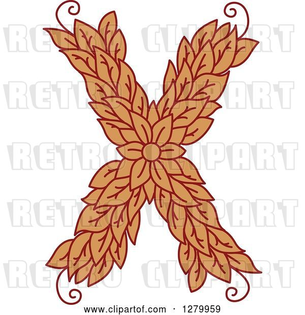 Vector Clip Art of Retro Floral Capital Letter X with a Flower