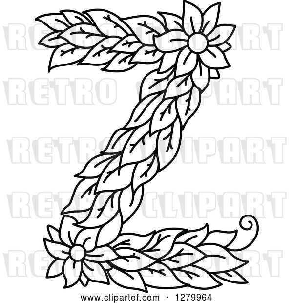 Vector Clip Art of Retro Floral Capital Letter Z with a Flower