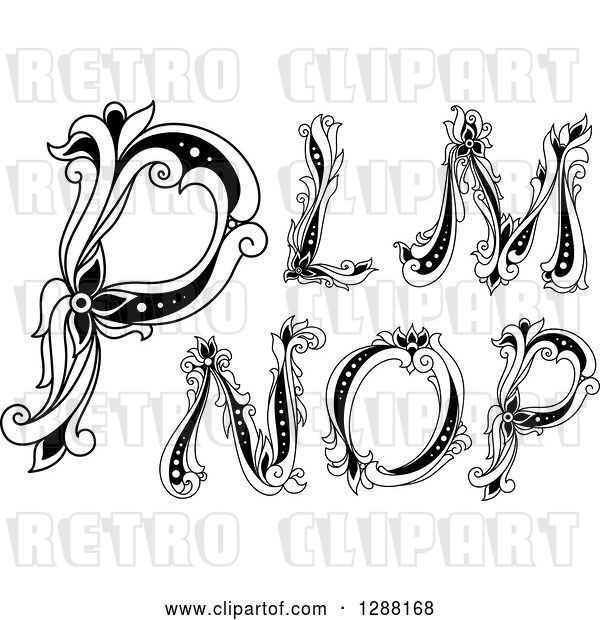 Vector Clip Art of Retro Floral Capital Letters L, M, N, O and P