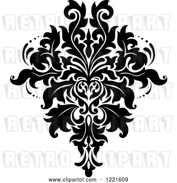 Vector Clip Art of Retro Floral Damask Design 9