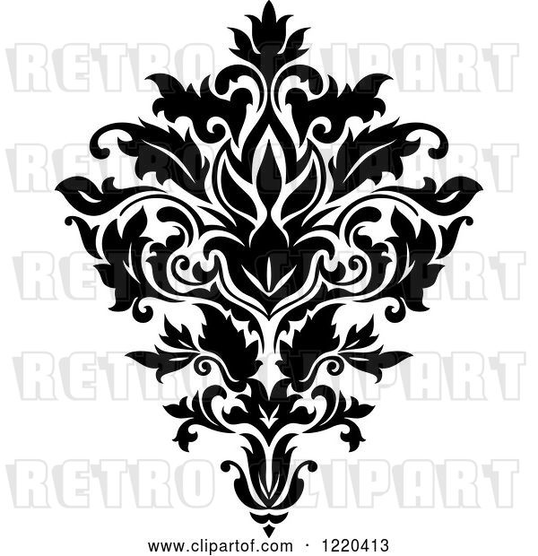 Vector Clip Art of Retro Floral Damask Design
