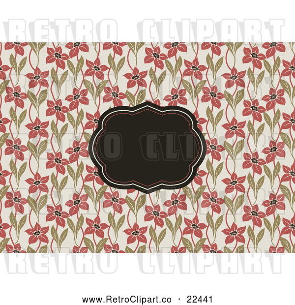 Vector Clip Art of Retro Floral Invitation Frame Background 1