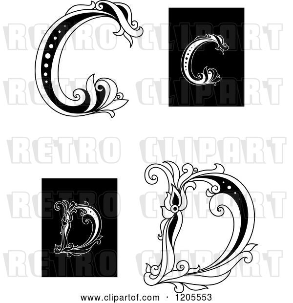 Vector Clip Art of Retro Floral Letter C and D 2