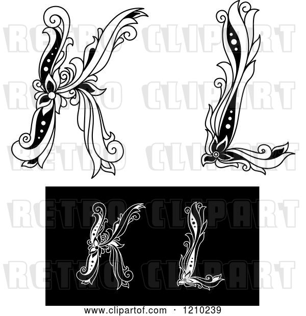 Vector Clip Art of Retro Floral Letter K and L