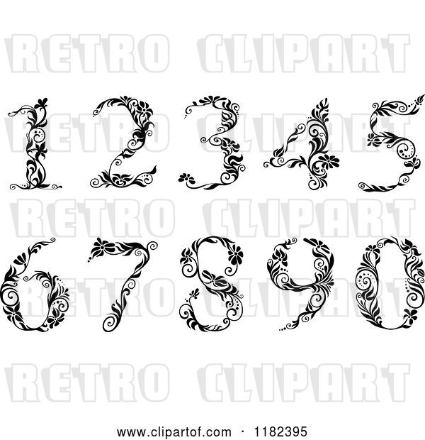 Vector Clip Art of Retro Floral Numbers