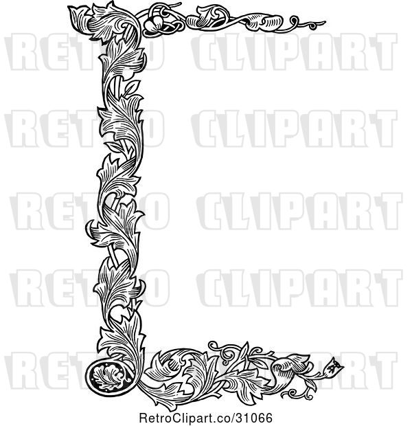 Vector Clip Art of Retro Floral Page Border 1