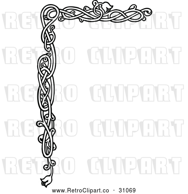 Vector Clip Art of Retro Floral Page Border 4