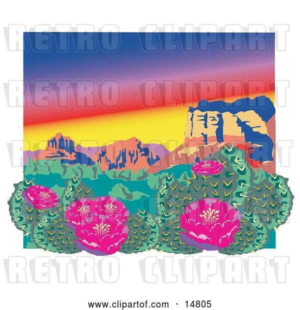 Vector Clip Art of Retro Flowering Cactus Plants in the Grand Canyon Desert