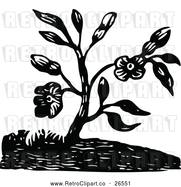 Vector Clip Art of Retro Flowering Plant