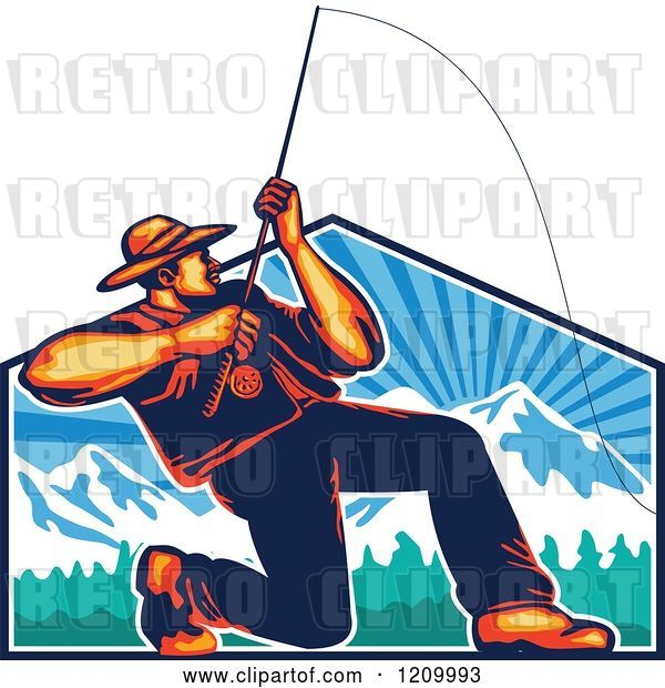 Vector Clip Art of Retro Fly Fisher Man Casting and Reeling over Mountains
