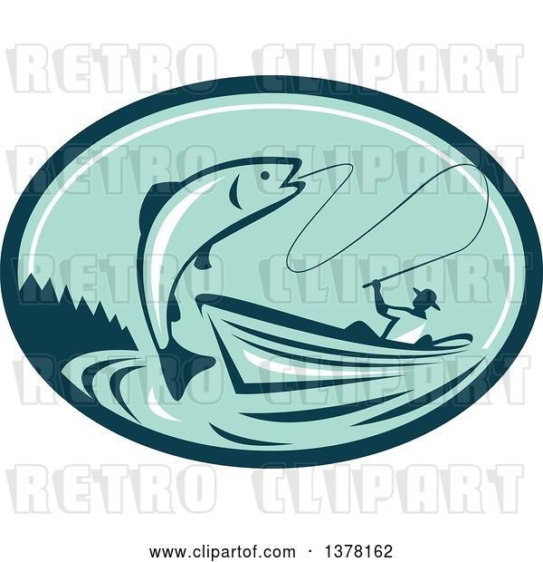 Vector Clip Art of Retro Fly Fisher Man Reeling in a Trout or Salmon Fish from a Boat in a Teal and Green Oval