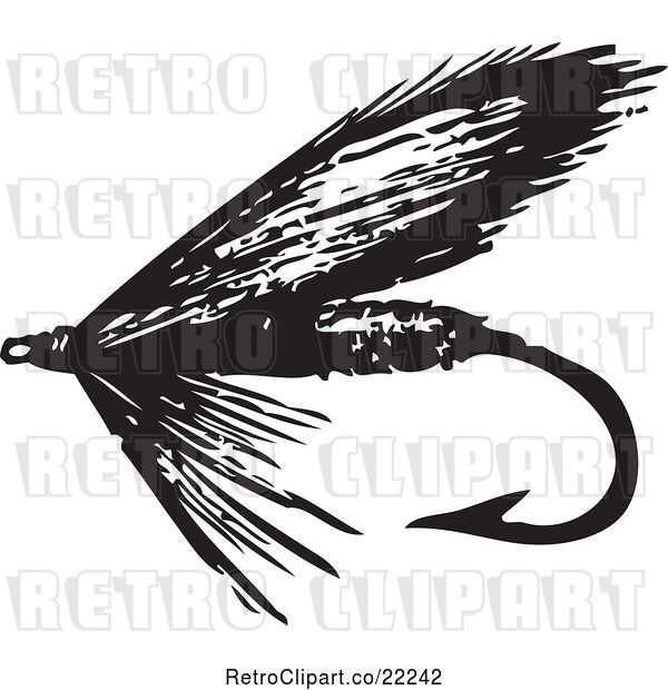 Vector Clip Art of Retro Fly Fishing Hook - 4