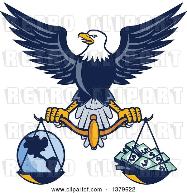 Vector Clip Art of Retro Flying American Bald Eagle Holding a Scale with Earth and Money