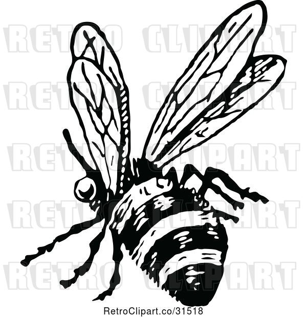 Vector Clip Art of Retro Flying Bee 2
